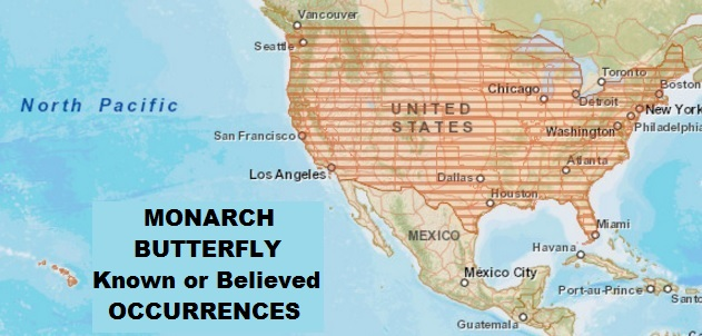 Monarch Butterfly Known or Believed Occurrence Map